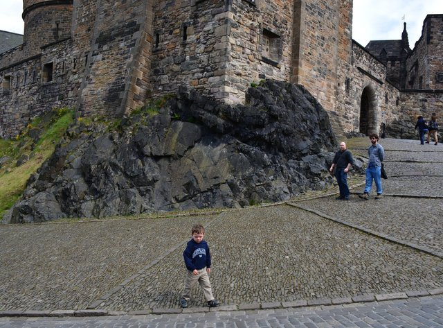 Calvin walks around inside Edinburgh Castle