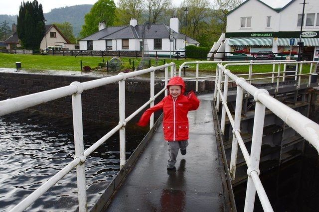 Calvin crosses the locks on the Caledonian Canal at Fort Augustus