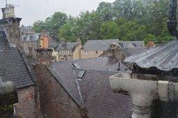 Rain outside the hotel window in Inverness