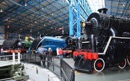 Steam engines surround the turntable at the National Railway Museum