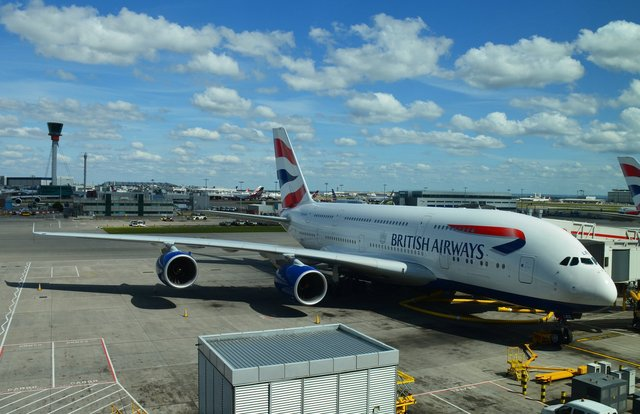British Airways Airbus A380 at Heathrow Terminal 5