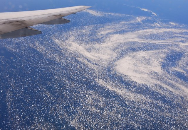 Drift ice in the Labrador Sea under G-YMMB's wing