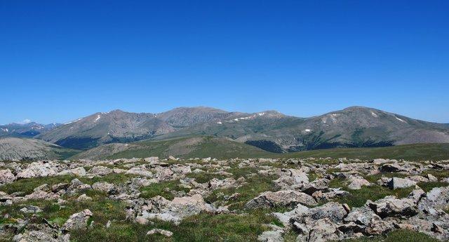 Looking north from Mount Logan to Mount Bierstadt and Mount Evans