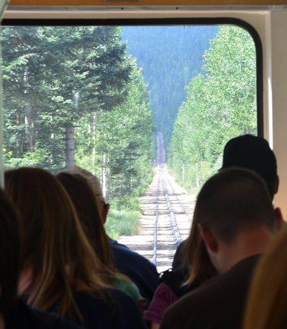 Looking up the Pikes Peak Cog Railway