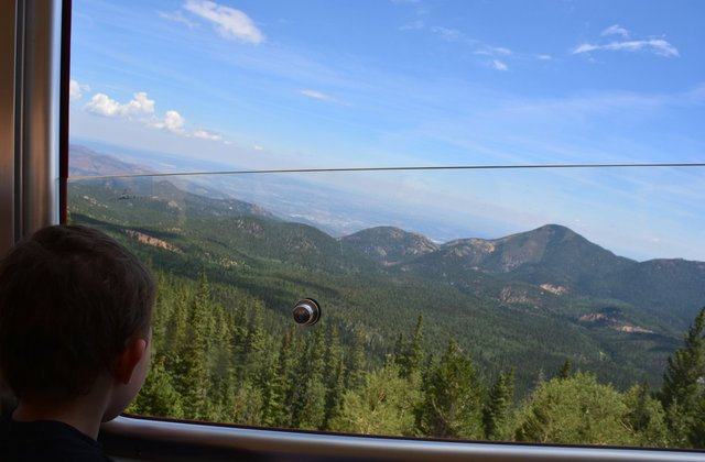 Calvin watches the scenery from the Pikes Peak Cog Railway