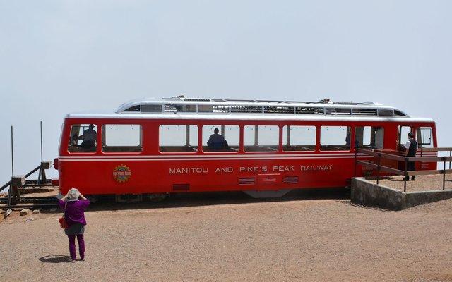 Cog railcar at the top of Pikes Peak