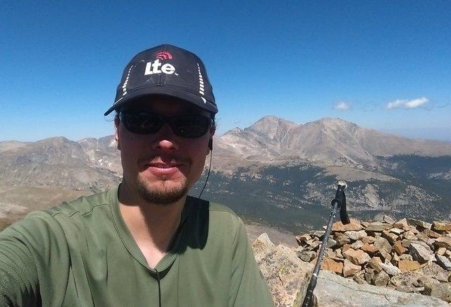 Jaeger on the summit of Copeland Mountain