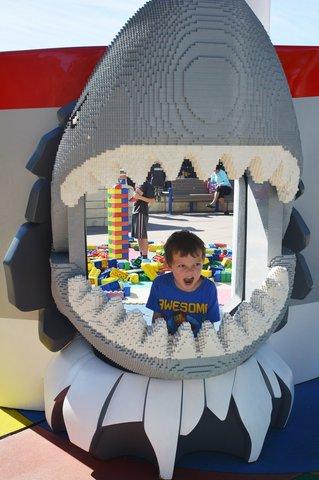 Calvin in a Lego shark's head