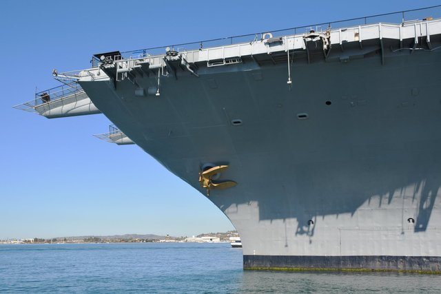 Bow of USS Midway in San Diego Harbor