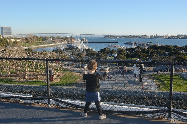 Calvin looks down from the deck of USS Midway