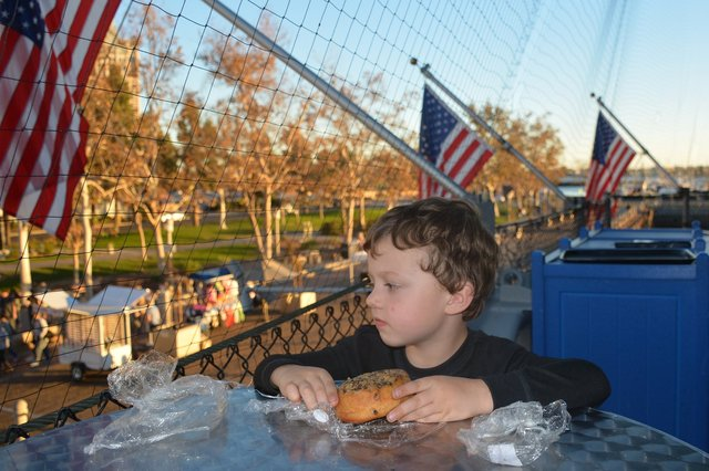 Calvin has a snack on USS Midway