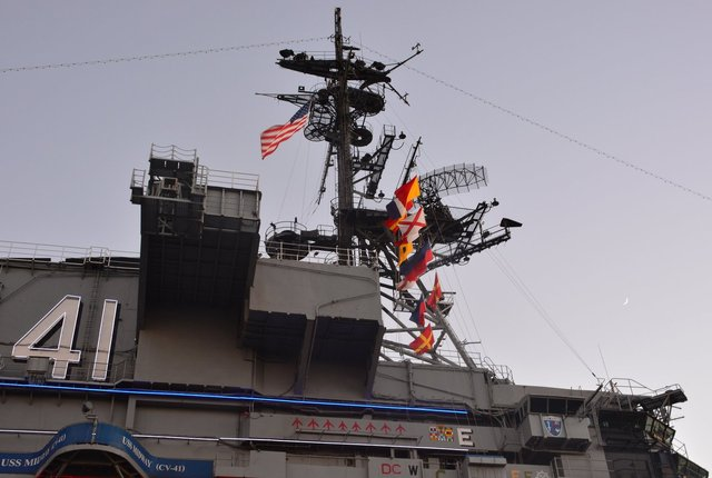 Island of USS Midway at dusk