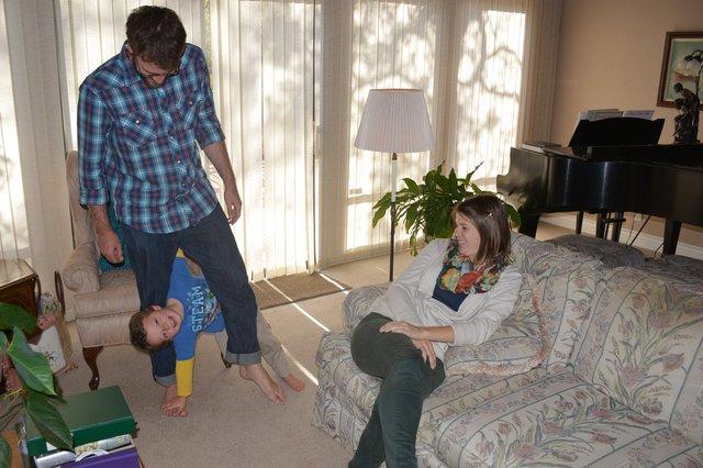 Calvin plays with Nathan and Kristina