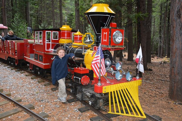 Calvin with the Leoni Meadows train engine