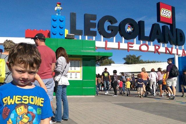 Calvin in front of Legoland California