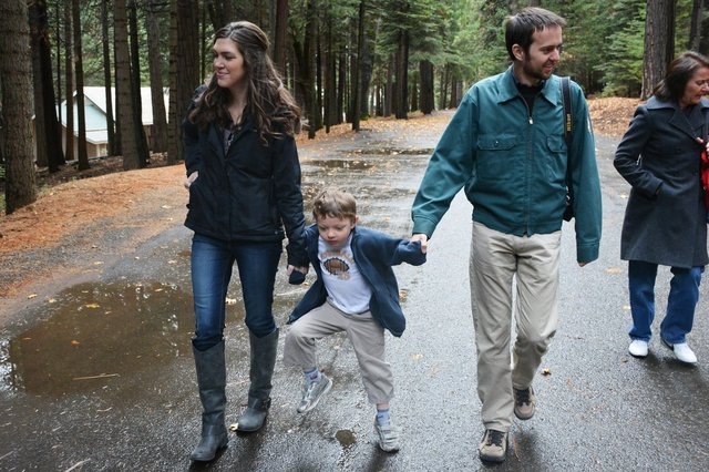 Calvin walks with Uncle Willy and Cousin Heather