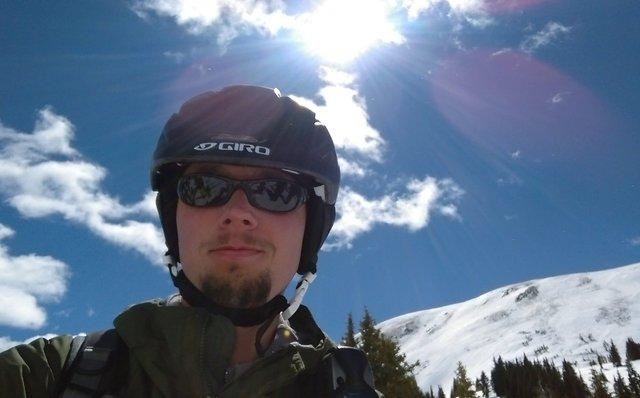 Jaeger in front of Tucker Mountain