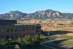 View of Flatirons and courtyard from BCH Foothills
