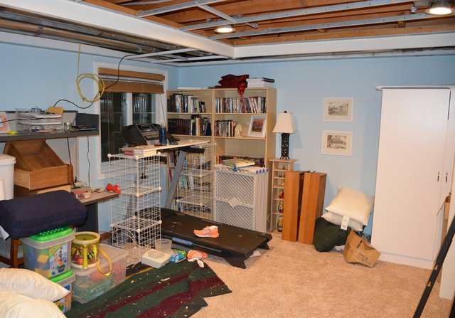 Basement with ceiling tiles out