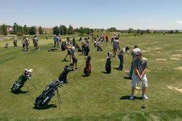Driving range at the golf scramble