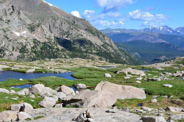 Basin at the top of Glacier Gorge, overlooking the Mummy Range