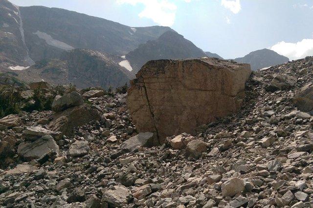 House-sized boulder below Elk Tooth