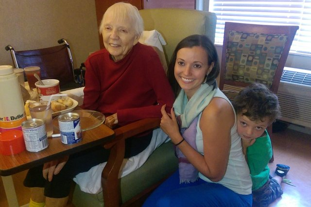 Calvin with Aunt Bethany and Great-Grandma Logan