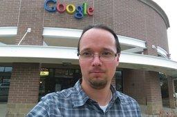 Jaeger in front of Google Boulder Building 2600