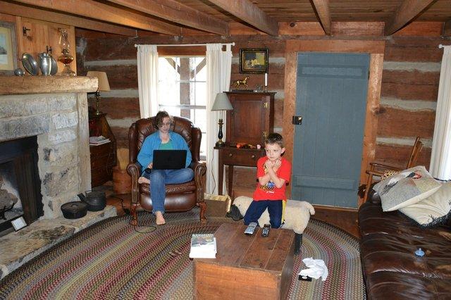 Kiesa and Calvin in the cabin's living room