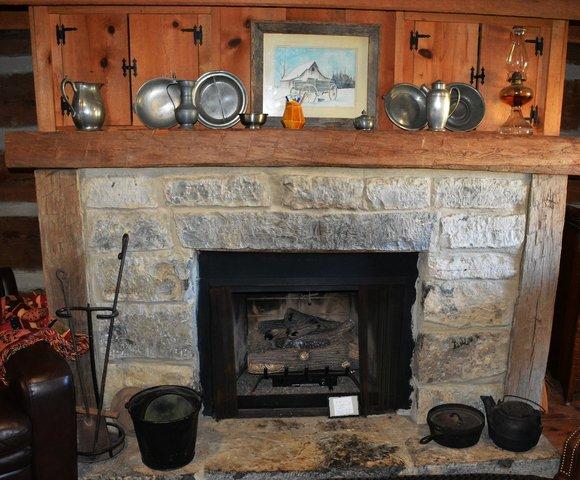 Gas fireplace in cabin