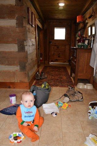 Julian in entryway in cabin near Rogersville Tennessee