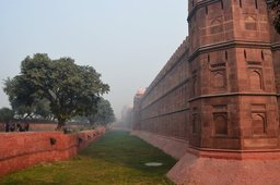 Outer walls and moat of the Red Fort