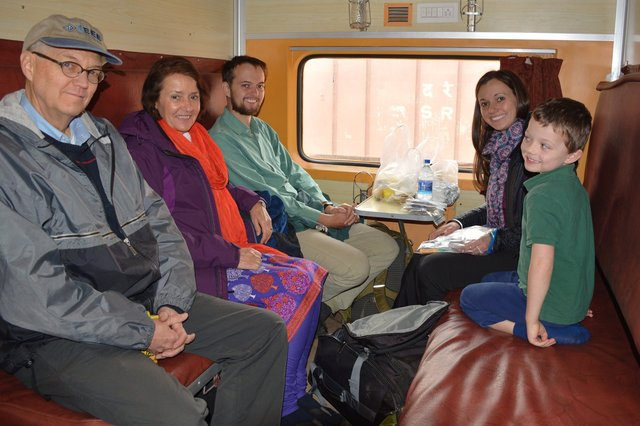Dad, Mom, Willy, Bethany, and Calvin in the sleeper car to Jaipur