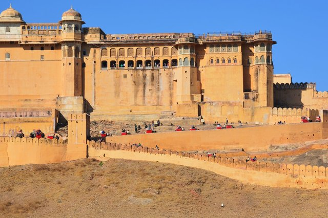Elephants carry tourists up to Amber Fort
