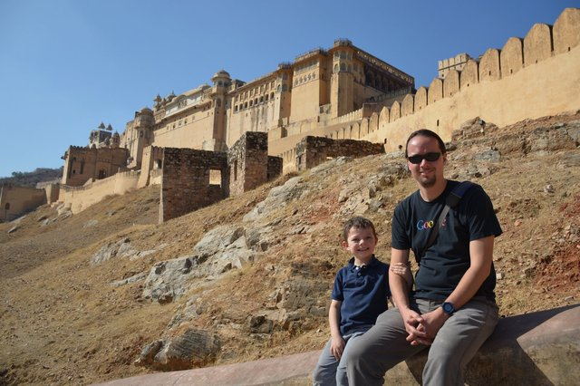 Calvin and Jaeger outside Amber Fort