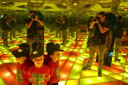 Jaeger photographs Calvin in the kaleidoscope room at the Nehru Science Centre