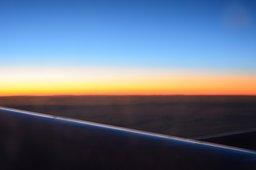Pre-dawn light somewhere over the Atlantic Ocean