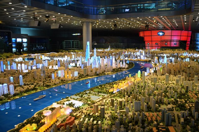 Scale model of Shanghai at the Urban Planning Exhibition Center