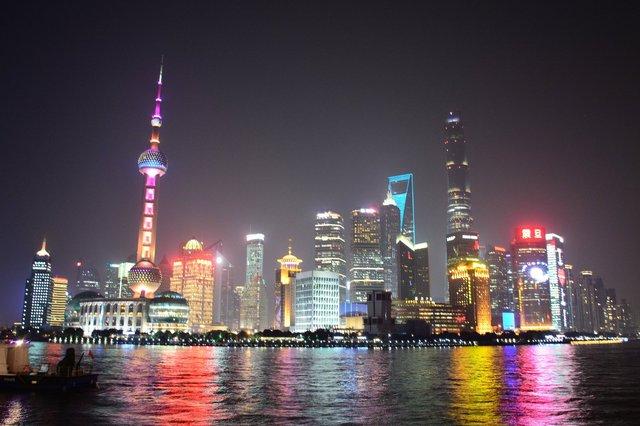 Pudong lit up at night