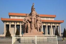 Dramatic Communist sculpture in Tiananmen Square