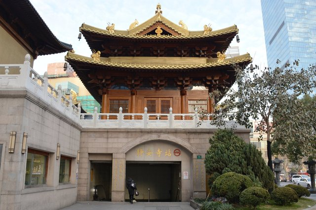 Pagoda at Jin Mao Temple above the metro stop in Shanghai