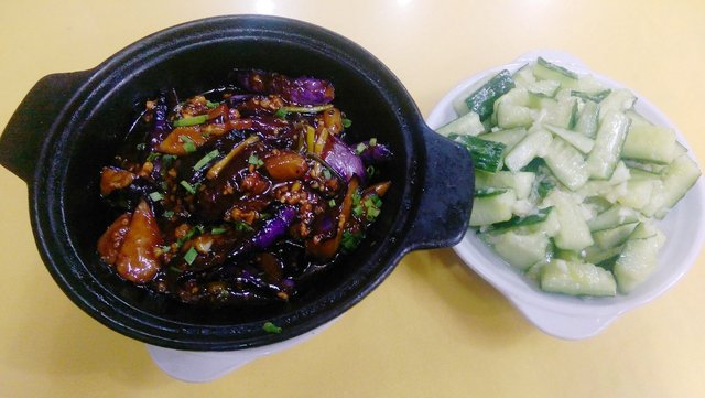 Supper: eggplant and cucumber