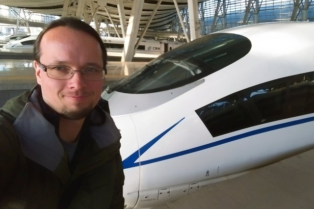 Jaeger with a high-speed train at Beijing Nan Railway Station