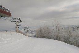 At the top of Saddleback Express lift, Park City