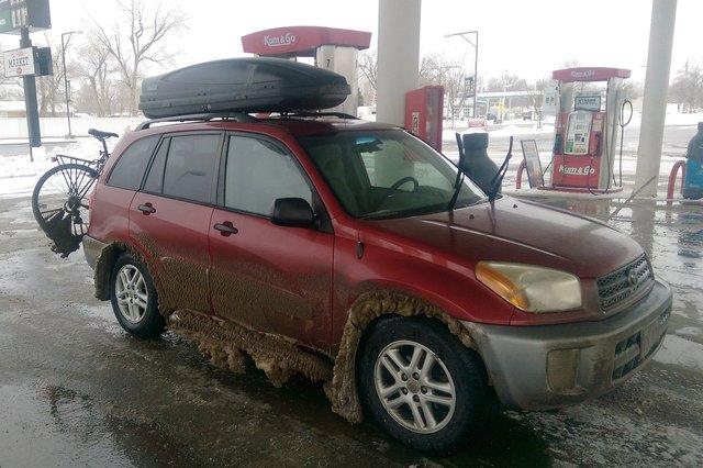Motoko after driving through a Colorado snow storm