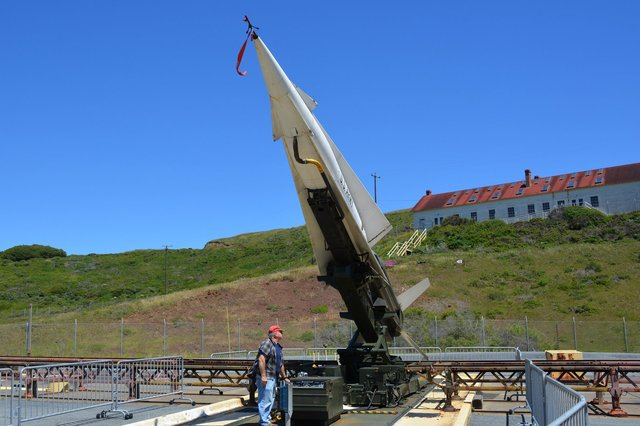Nike-Hercules missile raised to firing position
