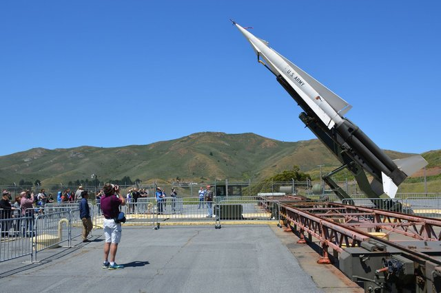 Nike-Hercules missile lowered from firing position