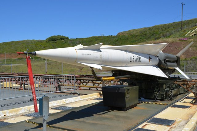 Nike-Hercules missile on launch pad in rest position