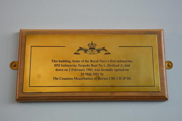 Royal Navy Submarine Museum dedication plaque