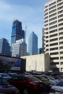 181 Fremont and Salesforce Tower under construction above a Soma parking lot